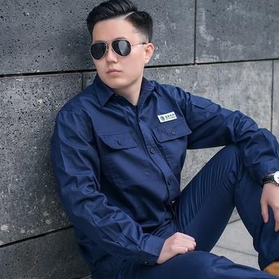 夏季薄款国家电网电力工作服 纯棉长袖藏蓝色电厂 防静电电工工服