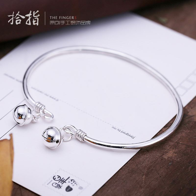 2018 new silver Q Anklet with Bell 999 full Silver Anklet Sterling Silver Anklet sweet Retro Art Palace bell decoration