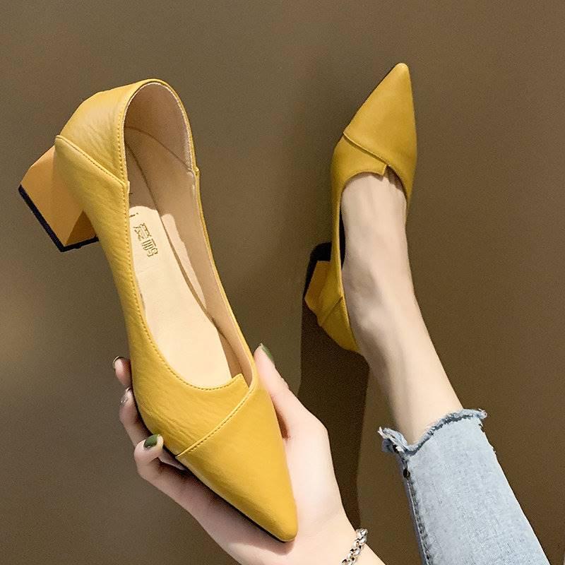 女鞋2021新款春季浅口尖头女士中粗跟单鞋网红晚晚两穿黑色高跟鞋