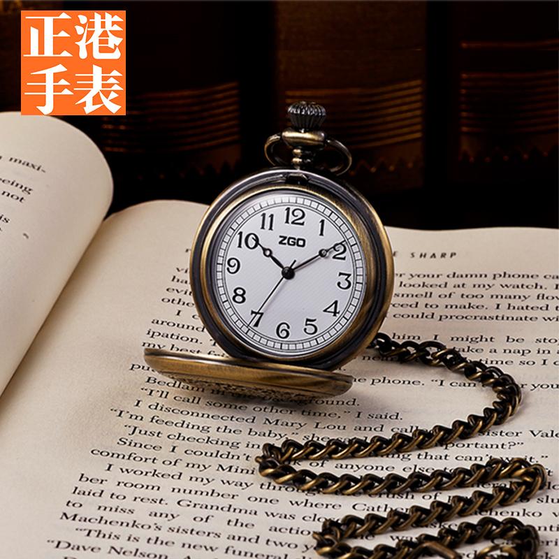 老人の腕時計の老人の青銅の復古する小さい懐中時計の男子学生はネックレスの男子の機械をかぶせてぶら下がって昔を懐かしむ女性を表します