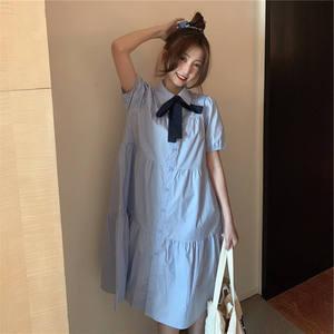 2021年夏季新款韩版减龄蝴蝶结衬衫