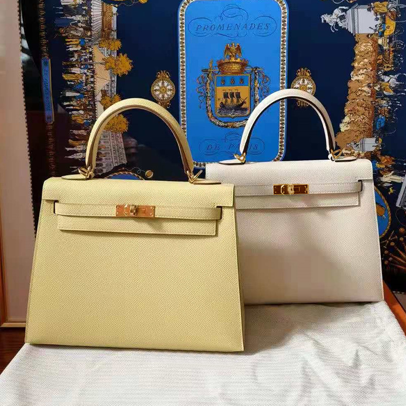 2021 summer fashion chicken yellow leather womens bag Kelly bag bridal bag small one shoulder cross carry Kelly bag