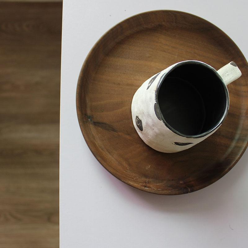 川谷日式化妆土手捏马克杯带勺手作器皿 办公室咖啡杯