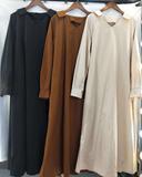 纯色韩版中长款宽松显瘦衬衫连衣裙,女装连衣裙,鑫韩欧