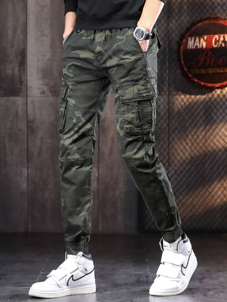 Military green legged overalls mens spring and autumn fashion slim fit small foot casual pants Multi Pocket elastic camouflage pants