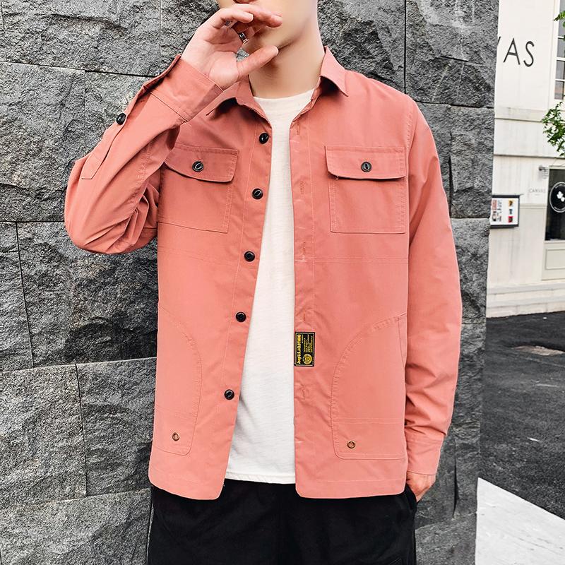 2020新装春季夹克式衬衫长袖衬衣纯色小外套男B262-C89-P55