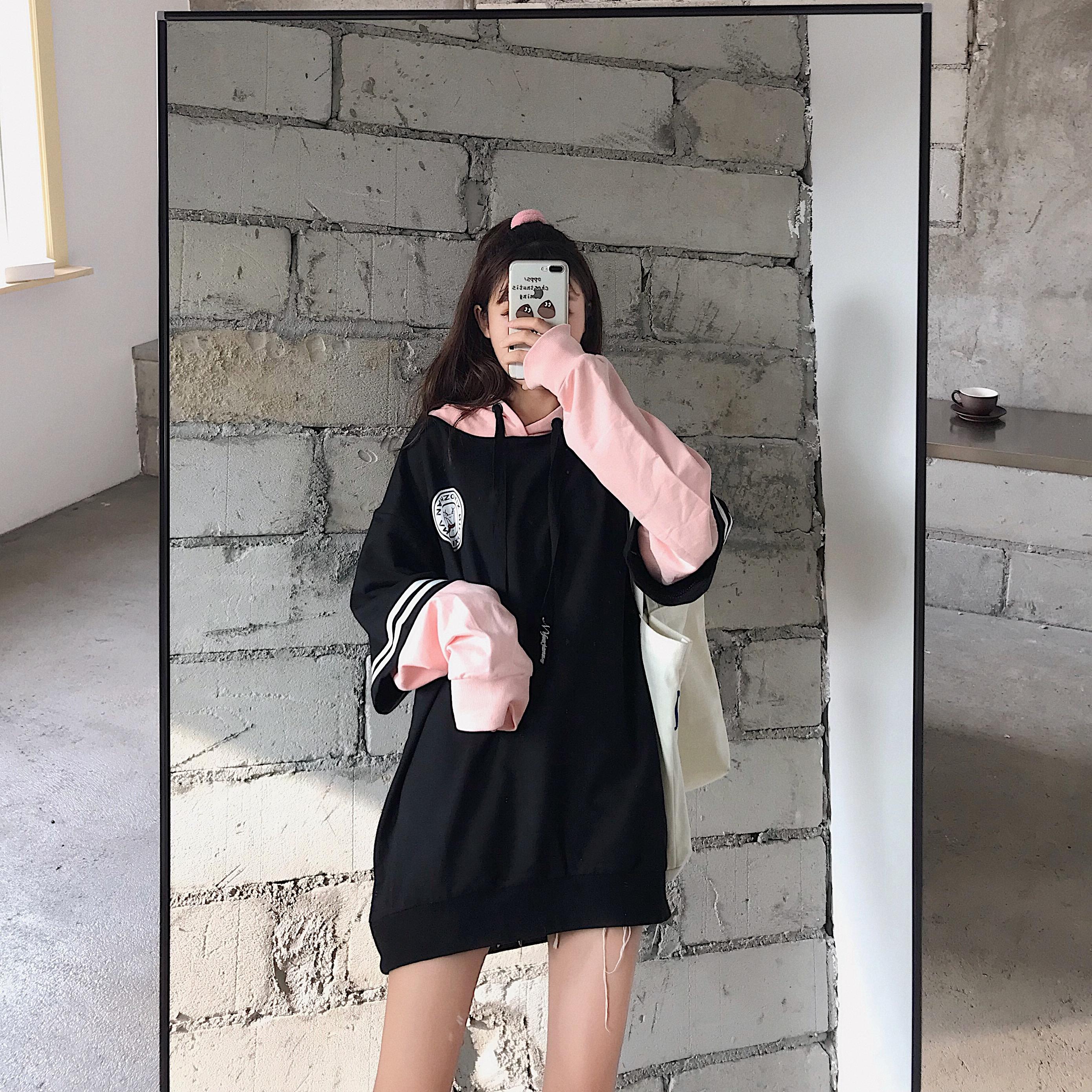肖战同款连帽拼色加绒卫衣学生中性风情侣装薄外套0565-P40女类