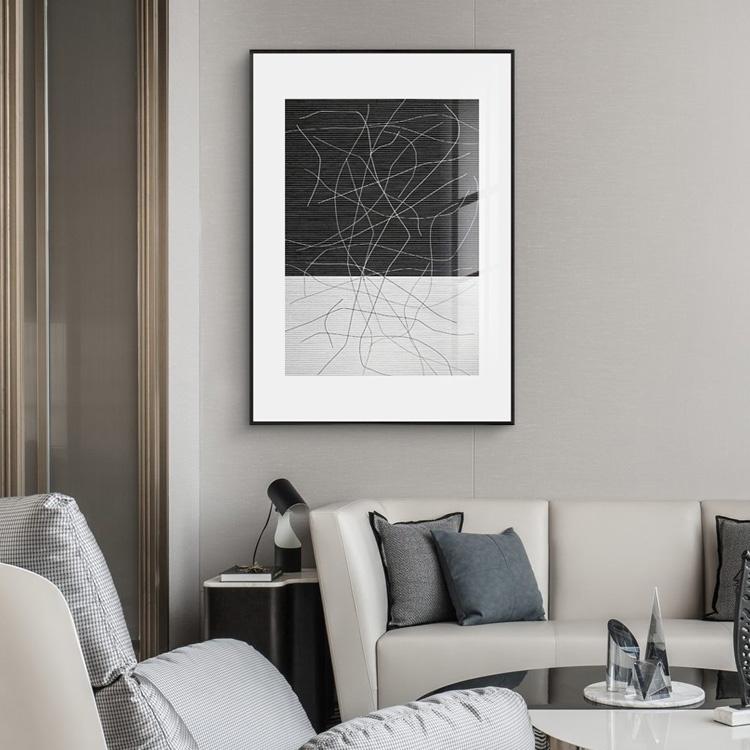 黑白抽象线条沙发样板间背景墙画