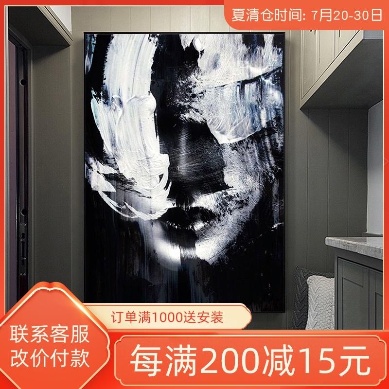 手绘人像现代简约轻奢黑白抽象油画