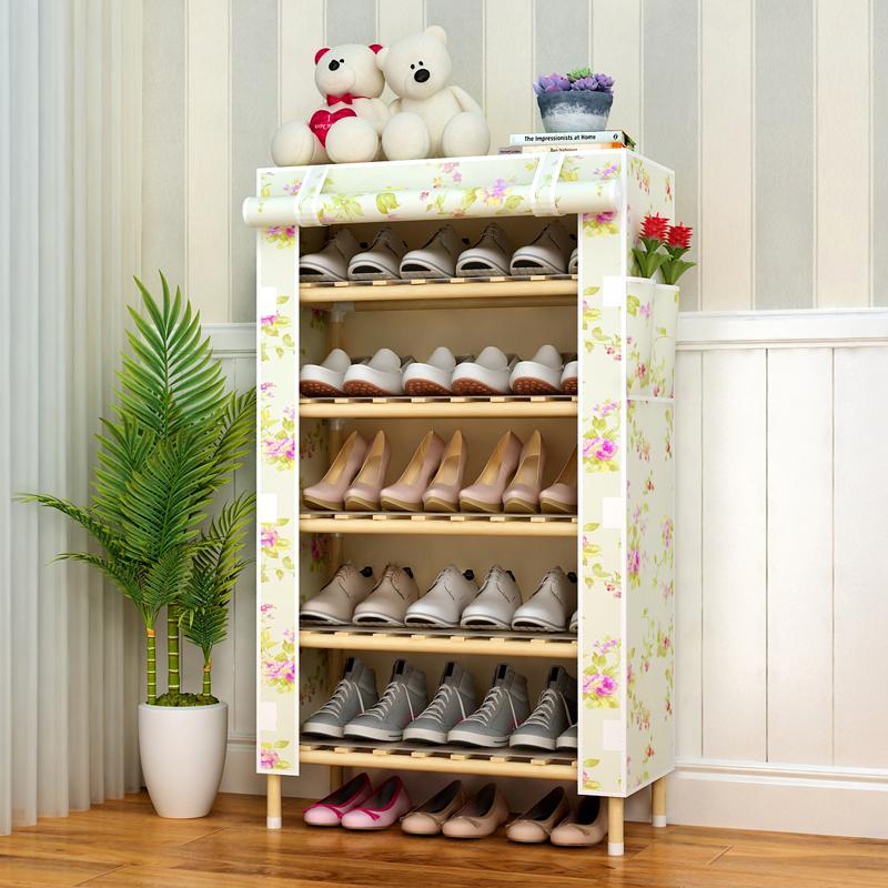 鞋柜木架带防尘罩多层鞋架简易家用超大容量大号套C牛津帆布木头