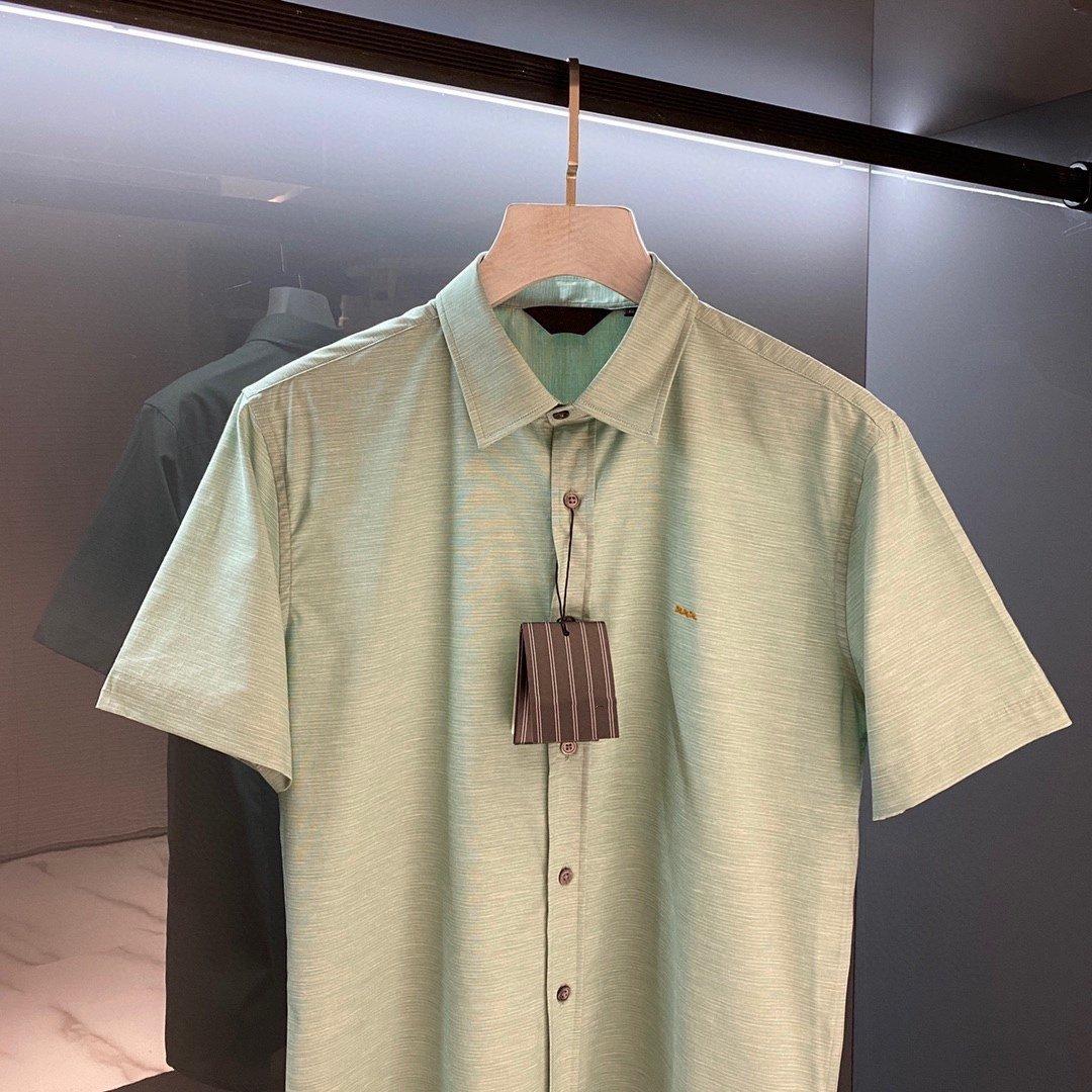 21春夏新款z出杰出xxx刺绣男款短袖衬衫商务休闲修身款衬衣