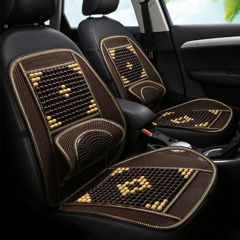 New summer bamboo x wooden bead car cushion single piece ventilated seat cushion set GM driver and co driver