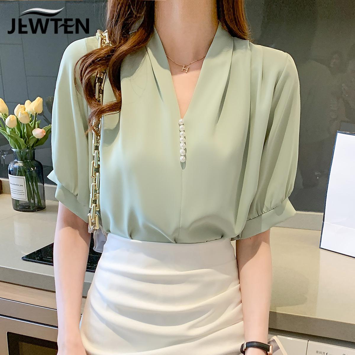女士短袖雪纺衬衫女装夏装2021年新款上衣设计感小众夏季薄款衬衣