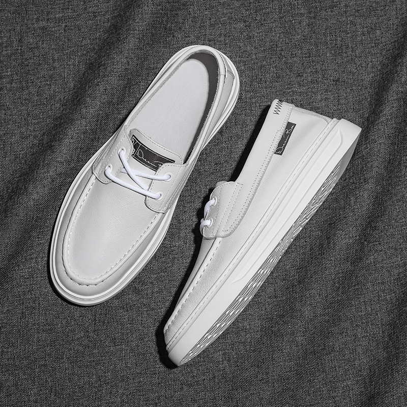 Leather small white shoes mens versatile flat leather shoes 2021 new spring and summer sailing shoes mens casual shoes fashion breathable