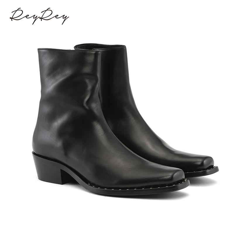 reyrey2021年丹麦秋冬新品切尔西靴男子真皮透气短靴低跟马丁靴