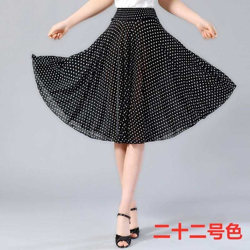 Summer middle-aged and elderly half length skirt floral short skirt middle-aged womens mother middle skirt ice silk square dancing sun skirt