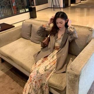 欧洲站秋款女装2021年新款法式复古碎花长袖连衣裙西装套装两件套