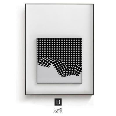 背景墙现代挂壁画简客厅的装饰简约画沙发画黑白幻觉极线条波动
