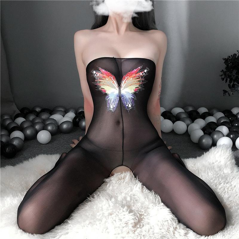 性感j内衣女裹胸露肩连体丝衣紧身超薄透视蝴蝶印花连身袜包臀可