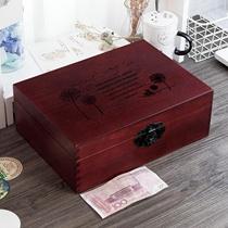 复古木盒g子木箱匣子收纳木质盒带锁小箱子收藏木制木盒实木储物
