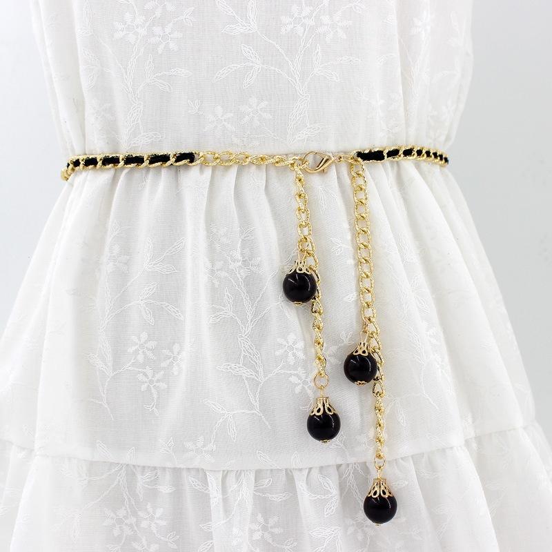 100 womens size lengthened Korean fashion gold y skirt tassel chain belt with thin waist decoration new dress big waist