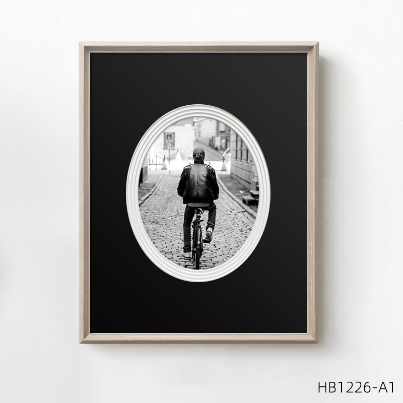 小众复古客厅装饰画黑白风景摄影餐厅挂画实木框多层卡纸壁画墙画