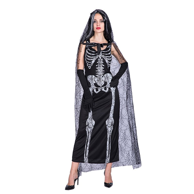 恐怖黑纱骷髅鬼新娘僵尸长裙cosplay成人角色扮演衣服万圣节服装
