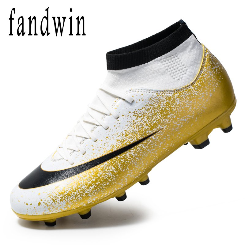 Student football shoes lovers mens and womens sports shoes long nail TF broken nail Ag high top sock cover control foot covering running shoes