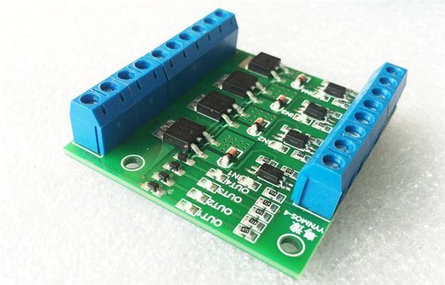 四路 mos管场效应管模块 plc放大电路板驱动模块v 光耦隔离 直流图片