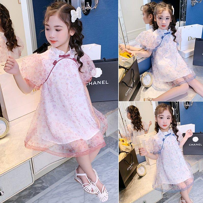 女童夏装连衣裙2021新款小女孩超仙公主裙儿童洋气网红夏季花边裙