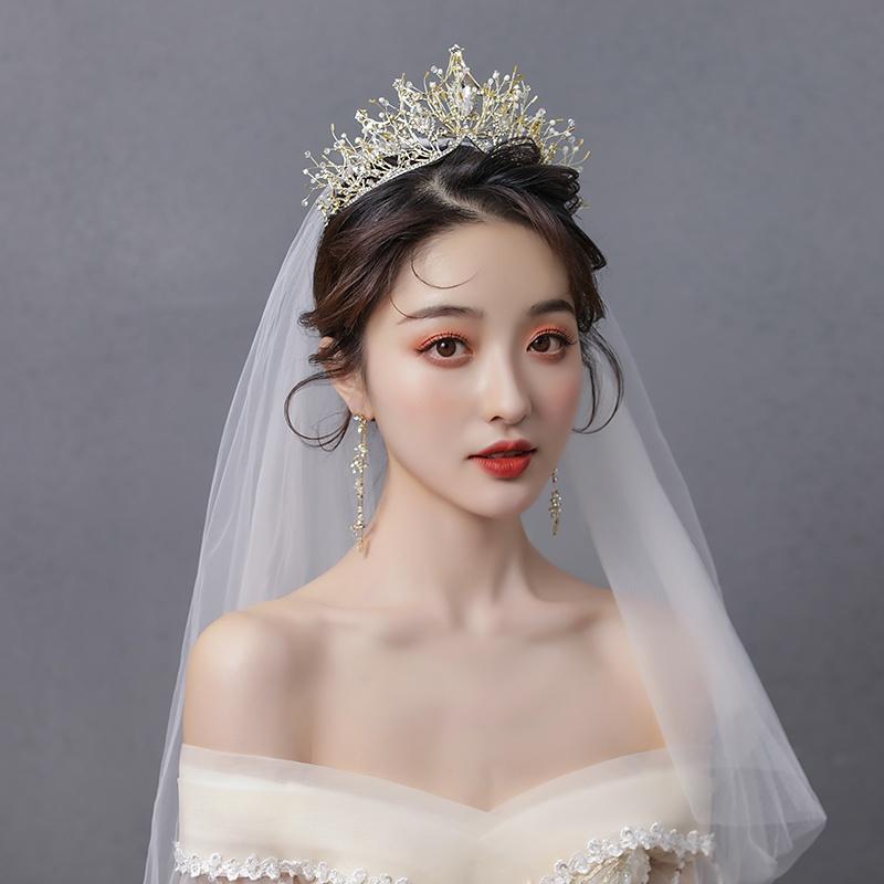 Bride crystal emperor Wang Guansheng sun crown super xianqisen wedding gauze headdress a2021 new three piece set