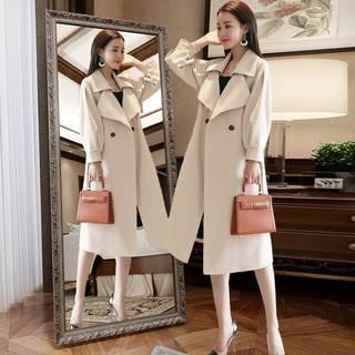 风衣女装中长款2021年秋款新款韩版小个子大衣英伦风流行春秋外套
