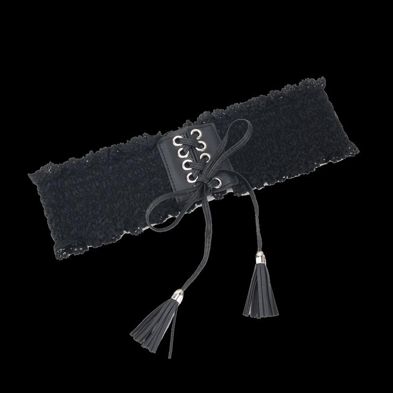 Womens Korean version lace belt wide waist cover womens Z dress decoration summer hollow white with skirt