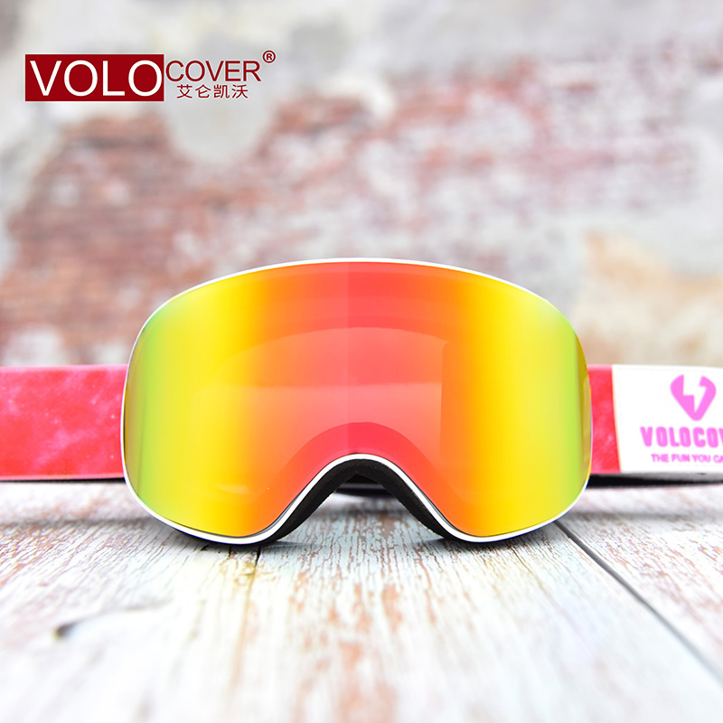 Magnetic film changing double-layer anti fog and anti ultraviolet childrens cylindrical ski glasses windproof glasses snow protective glasses
