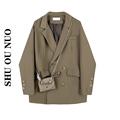 【现货】西装外套女春秋季设计感小众2021新款宽松复古休闲小西服