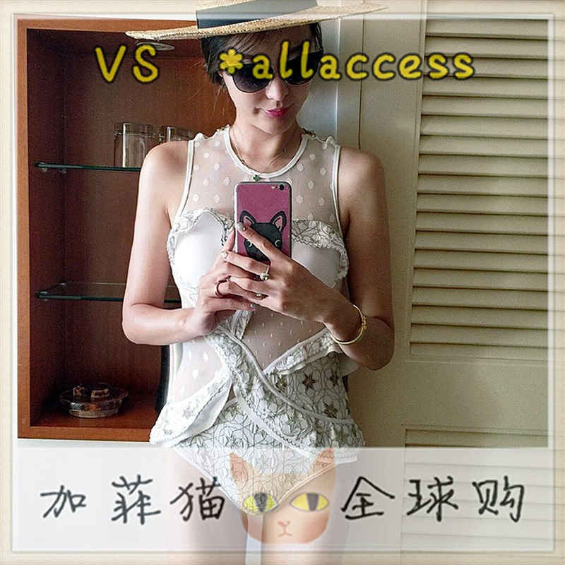 Vito vs hot spring embroidery Leah sexy gauze secret vacation steel ring gathers one-piece to cover Z belly female swimming