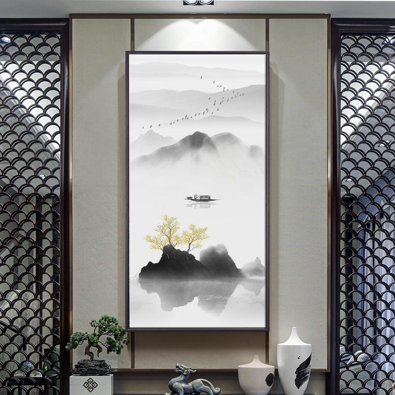 新中式中國風山水風景豎版玄關裝飾掛畫客廳壁畫走廊過道背景墻畫
