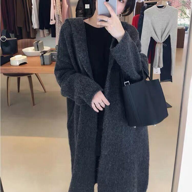 外套女连帽加肥加大码女装胖妹妹200斤宽松慵懒毛衣大衣针织开衫