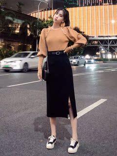 大码女装秋季新款2021洋气减龄遮肉潮套装微胖女生时尚穿搭两件套