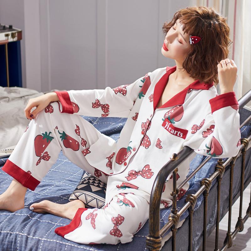 实拍月子服夏纯棉孕妇哺乳睡衣中长款女产后喂奶孕妇春秋季家居服