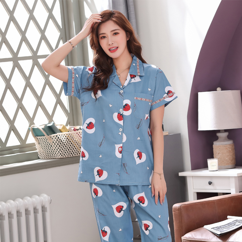 Summer pajamas womens thin cotton lovely mothers home wear set two piece set sexy loose short sleeve girls