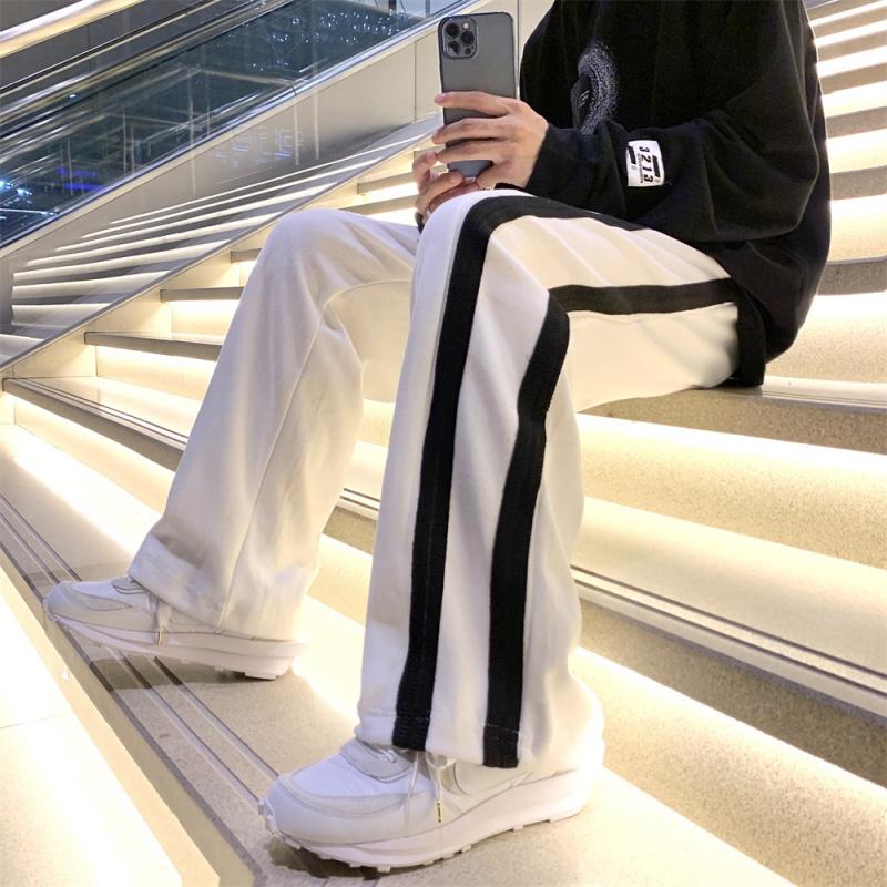 Floor mop mens color matching stripe vertical loose guard pants High Street Sports tide brand neutral straight tube wide leg long pants