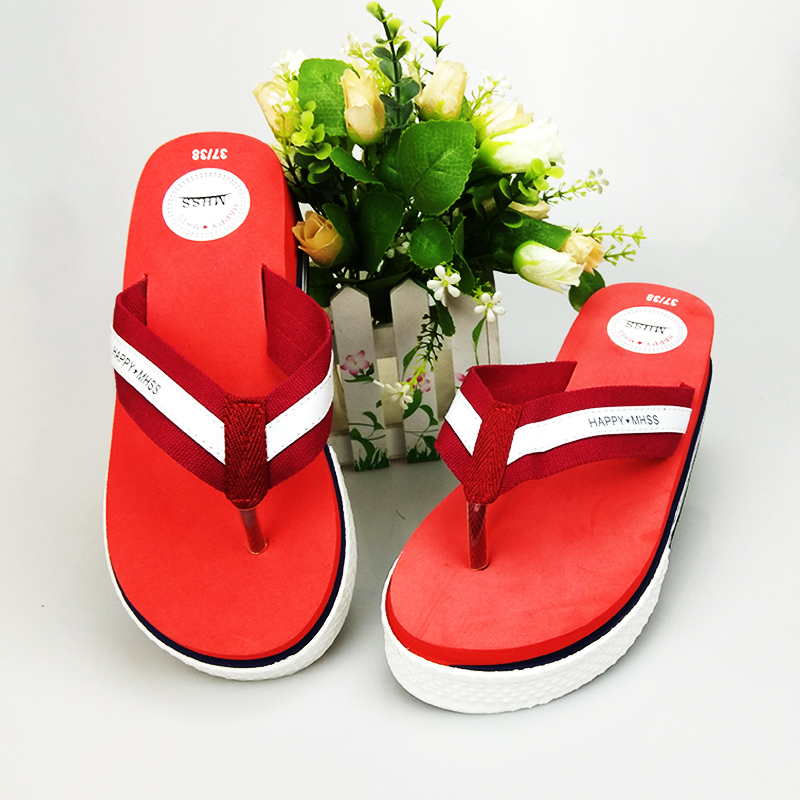 2018 new Li Xiaoli same Korean happy flip flops thick soled womens shoes muffin soled sports shoes package
