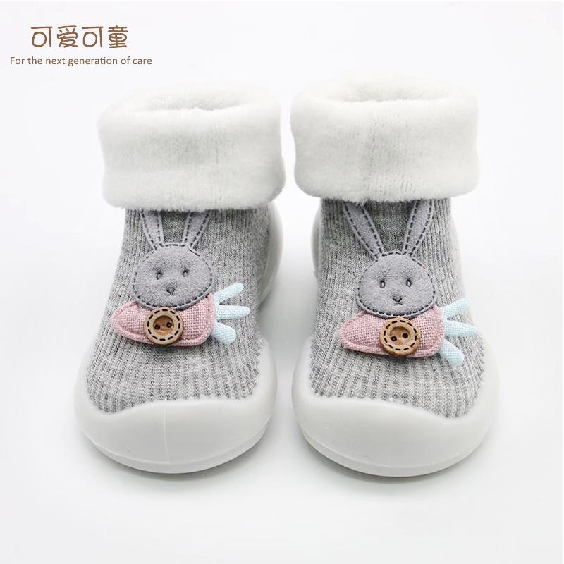 宝宝学步鞋男女童防滑地板鞋袜婴儿鞋0-1岁软底秋冬季新生儿保暖