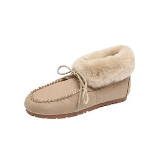 冬季加絨保暖女棉鞋羊羔毛鞋雪地鞋平底豆豆鞋女冬外穿繫帶毛毛鞋