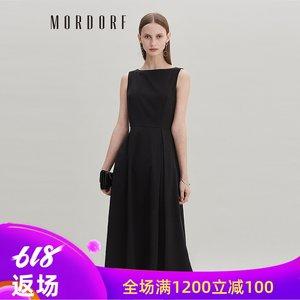 mordorf小黑裙女修身赫本复古裙子