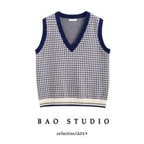 BAO STUDIO格子马甲2020春款针织女毛线背心学院风V领宽松针织衫
