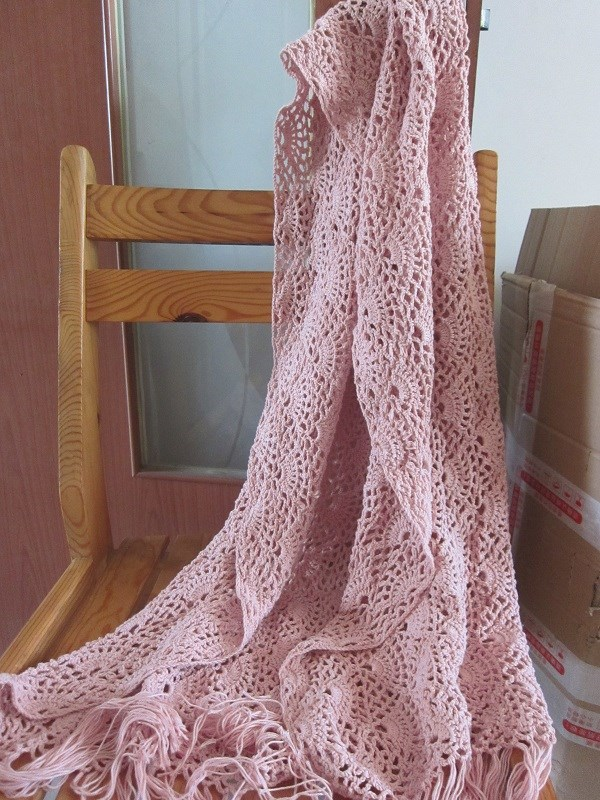 Pure hand knitted Crochet Pattern womens fashion personality hollow square shawl big triangle scarf customization