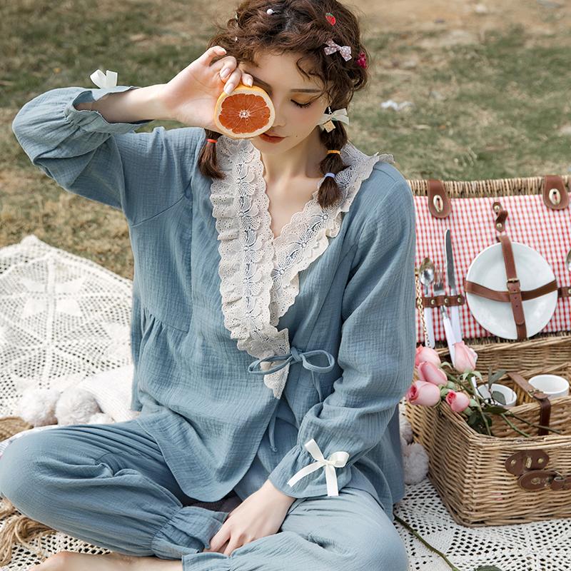 纯棉月子服套装春秋薄款棉纱韩版哺乳喂奶3月份夏季透气孕妇睡衣