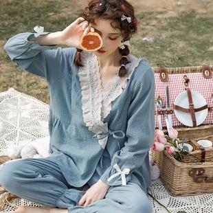 哺乳喂奶4月份5夏季 春秋薄款 纯棉月子服套装 棉纱韩版 透气孕妇睡衣